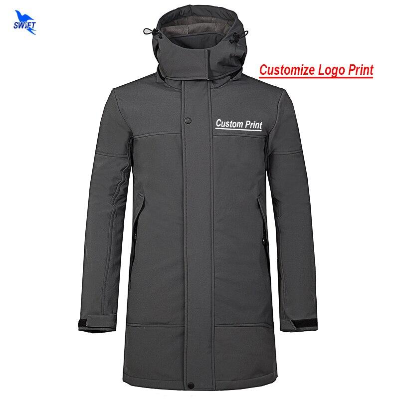 Logotipo personalizado para hombres de lana senderismo Softshell Chaqueta larga con capucha abrigo impermeable al aire libre ropa deportiva de esquí