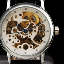 Winner Retro Vintage Series Blue Hand Black Leather Band Designer Luxury Watch Montre Homme Erkek Saat Mechanical Skeleton Watch