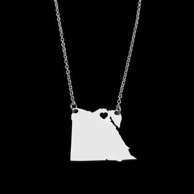 Collar con colgante de mapa egipcio de acero inoxidable, venta al por mayor de fábrica, collares con mapa del mundo, joyería para collar de mujer árabe