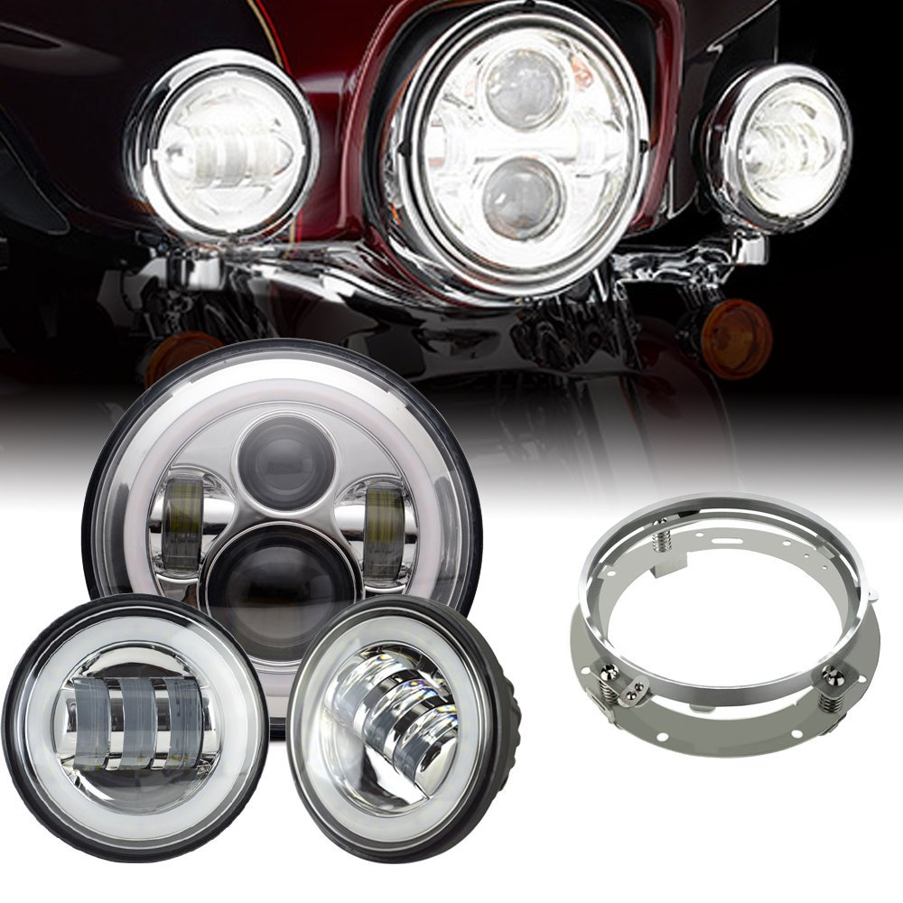 Faro LED DRL blanco de 7 pulgadas, faros antiniebla Halo de 4,5 pulgadas, anillo adaptador para Harley Touring Electra Glide Road King Street Glide