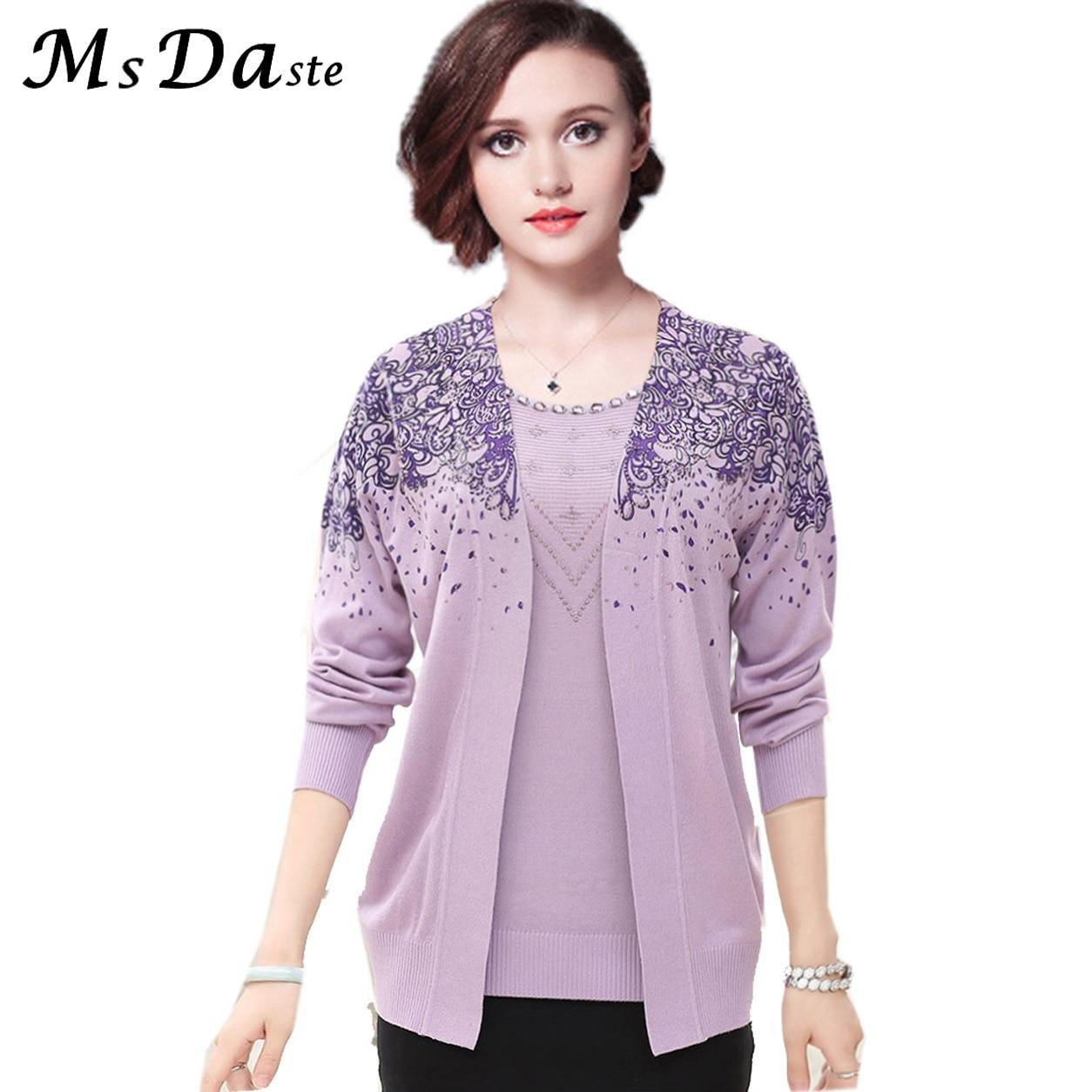 Женский свитер, осенний комплект из 2 предметов, футболка с цветочным принтом + блузка, Зимний пуловер, большой размер M ~ 3XL, 9 цветов, 2018
