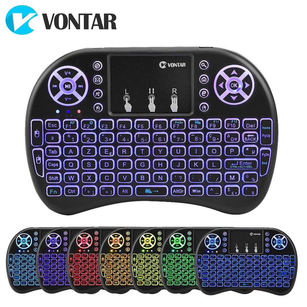 VONTAR retroiluminación i8 inglés ruso español 2,4 GHz teclado inalámbrico air Mouse Touchpad retroiluminado para Android TV BOX Mini PC