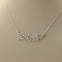 925 silver cut out name necklace with heart banner customized necklace with nameplate personalized women necklace christmas