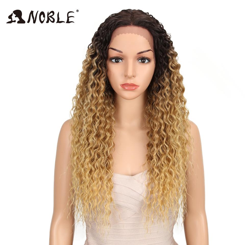 Peluca de pelo sintético Noble rizado pelo de fibra de alta temperatura 26 pulgadas pelucas frontales de encaje sintético Rubio Natural para mujeres negras