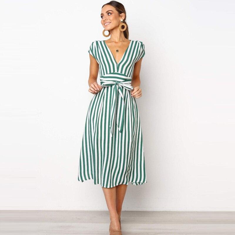 Lossky Summer Women Stripe Long Dress Sexy Deep V-neck Elegant Ladies Dresses 2020 Womens Clothing Midi Dress For Women Casual