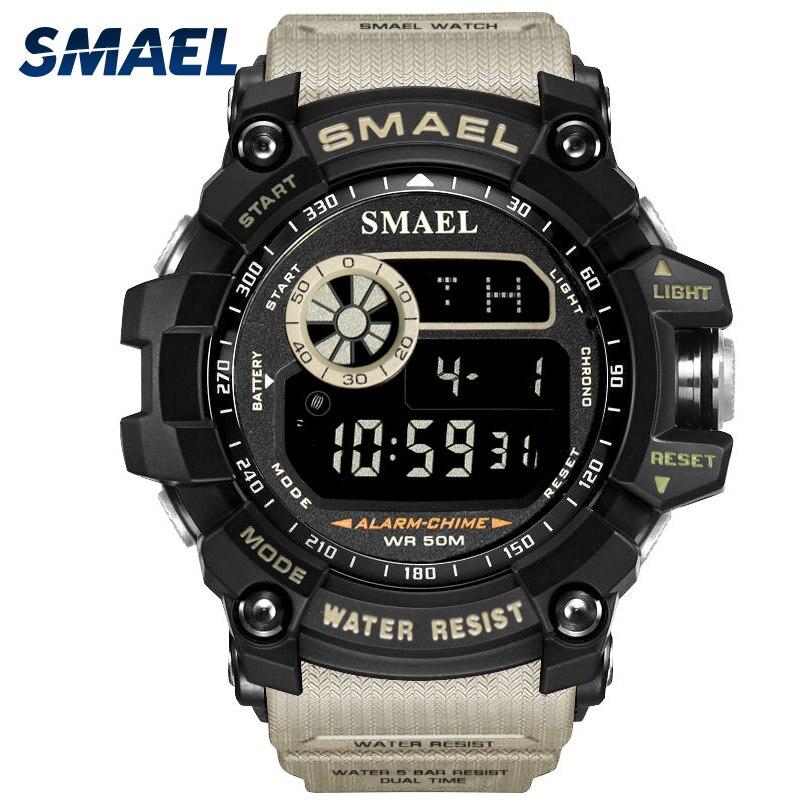 Montres de sport pour hommes célèbre marque de luxe montre militaire militaire pour hommes numérique LED électronique étanche hommes montres-bracelets mâle SMAEL