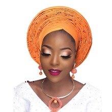 Nigérian auto gele africain chapeaux femmes turban traditionnel chapeaux