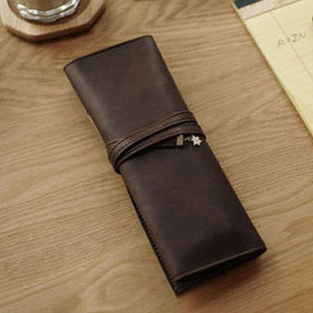 De moda de cuero de la PU bolsa de lápiz de gran capacidad rollo lápiz caso creativo impermeable de múltiples funciones de oficina de la escuela