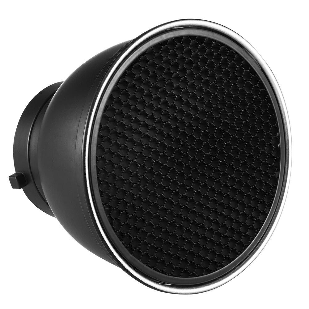 Difusor Reflector estándar de 7 pulgadas, plato de sombra para lámpara con rejilla de nido de abeja de 60 grados para montaje en estudio Bowens, luz estroboscópica Speedlite