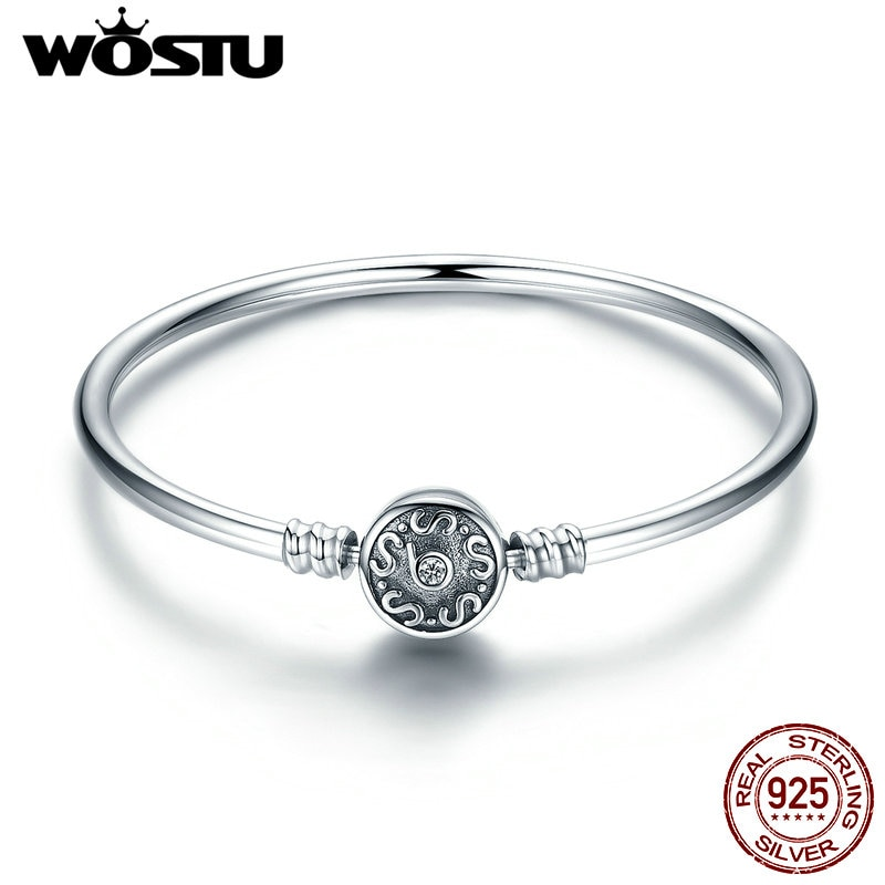 Wastu alta calidad 100% Plata de Ley 925 diseño Vintage S brazalete para mujeres se ajusta a pulseras de encanto DIY joyería de moda CQB013