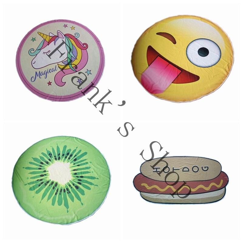 منشفة شاطئ دائرية من الألياف الدقيقة ، طباعة رقمية ، منشفة حمام غير منتظمة ، كعكة الفراولة ، الأناناس ، بيض الدب