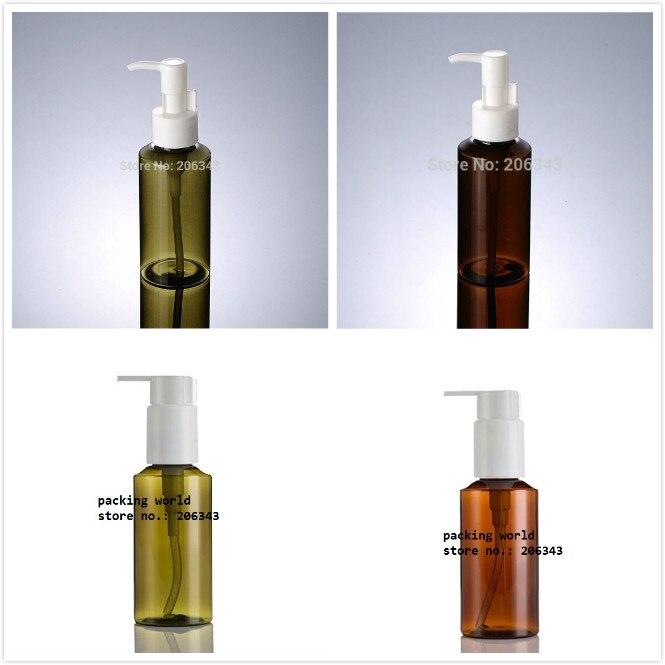 100 ml VERDE/BROWN PET GARRAFA de loção/emulsão/soro/remoção de óleo/shampoo/cosméticos embalagem de garrafa de plástico