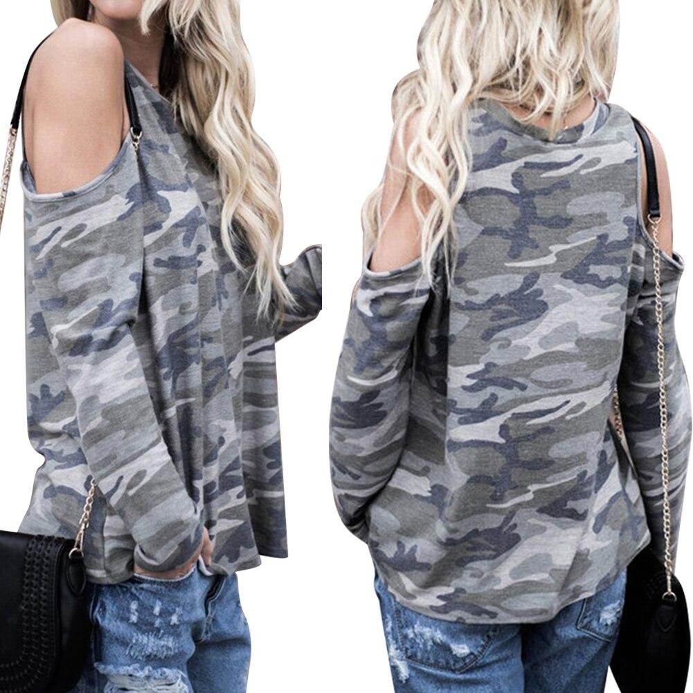 Mode Frauen Sommer Camouflage Open Schulter Langarm Casual Tops Hemd