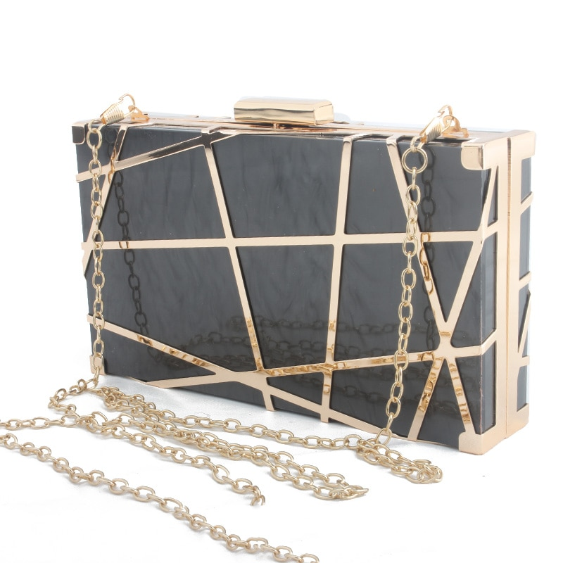 Caja acrílica de moda para damas día geométrico embragues bolso de hombro cartera estuche rígido lujo noche fiesta banquete bolsa de mensajero