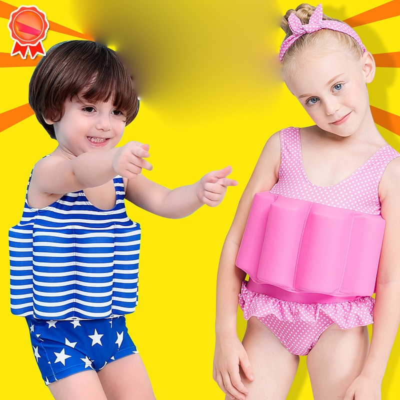 High Quality Kids One-piece Swimsuit Boys Girls Learn Swimming Floating Buoyancy Swimwear Detachable Float Suits For Children
