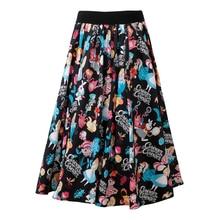 Candow Look 2018 Vintage inspiré vêtements femmes élastique taille haute jupe Saias Faldas Alice imprimer taille unique jupes plissées