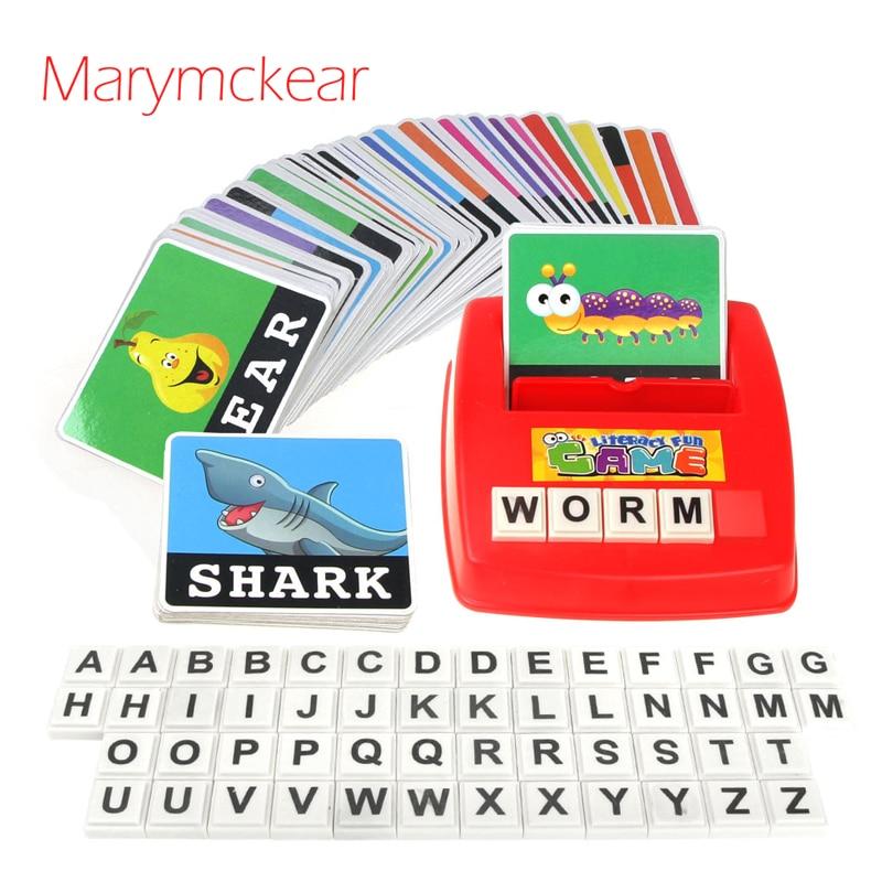 Juguete educativo 26 letras en inglés juguete ortografía Tarjeta de aprendizaje de juguete de los niños del bebé de aprendizaje cercanas de letras tarjeta