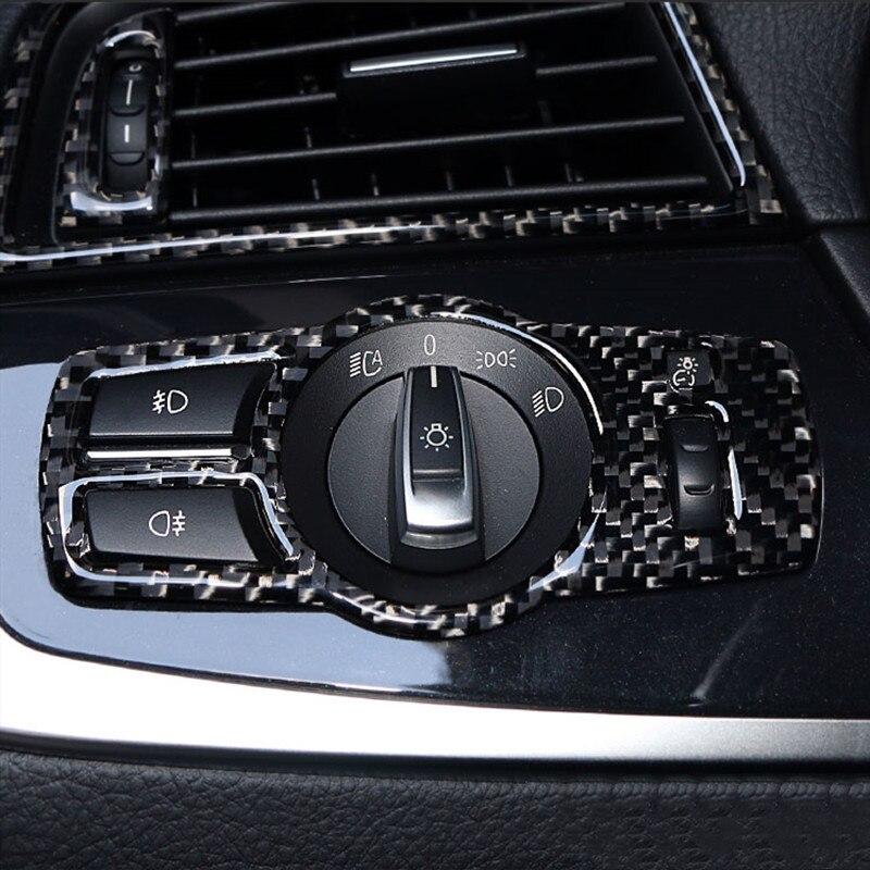 Fibra de carbono estilo de coche faro interruptor moldura de cubierta de Marco pegatina para BMW Serie 5/7 F10 X3 X4 F25 F26 F01 accesorios interiores