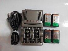 Высокое качество 4 шт 2000mah 9V NiMH аккумуляторная батарея + 1 шт универсальное 9v aa aaa зарядное устройство