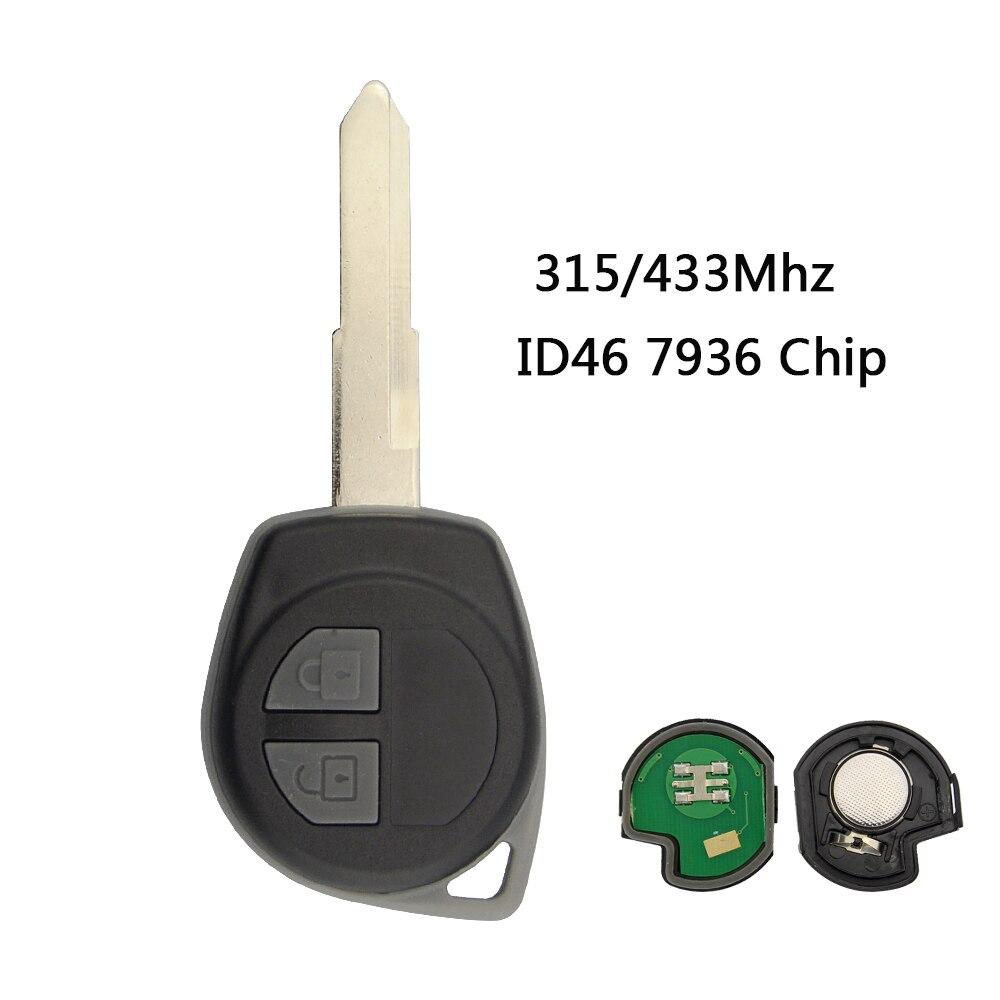 Mando a distancia OkeyTech de 2 botones para Suzuki Swift SX4 Alto Vitara Ignis JIMNY Splash 315/433MHz ID46 Chip HU87 hoja sin cortar
