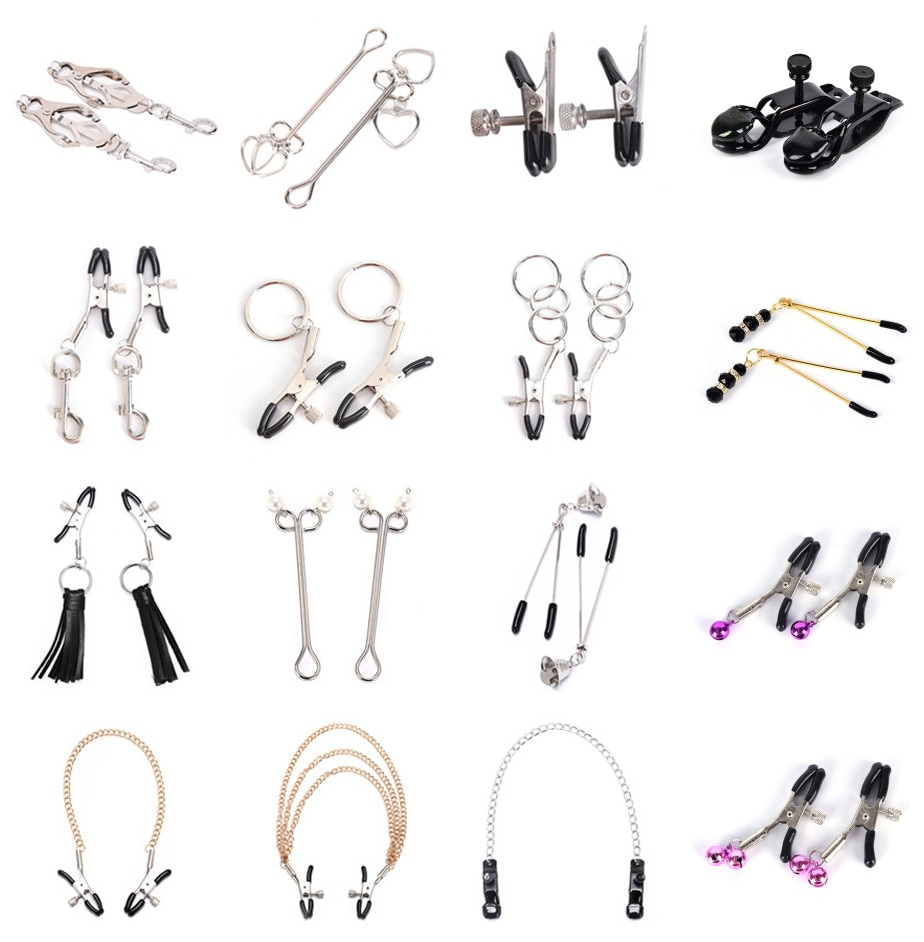1 Pair Metal Bell Nipple Clamps With Chain Clips Flirting Teasing  Flirt Bondage Kit Slave Bdsm Exotic Accessories