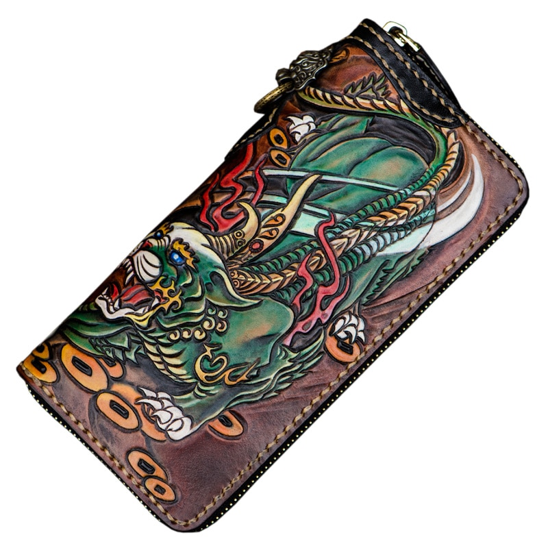 Handmade Personal Tailor Men Genuine Leather Wallets Carving Brave Troops Purses Women Clutch Vegetable Tanned Leather Wallet