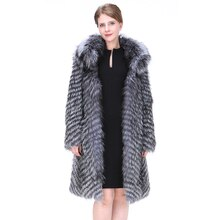 Women Natural Fox Fur Coat Fashion England Style Winter Thick Warm Real Silver Fox Fur Overcoat Extra Long Lady Fox Skin Jacket
