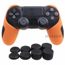 IVYUEEN Dicker Halb Haut für PlayStation Dualshock 4 PS4 Pro Slim-Controller Silikon Abdeckung Fall mit 8 Thumb-Stick Caps