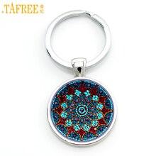 TAFREE vintage fashion men women mandala glass cabochon keychain buddhism zen charm purse bag car pendant key chain holder CT391