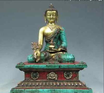 Estatua de Buda Sakyamuni de coral turquesa de oro de 24K de cobre puro de 28cm */Tíbet