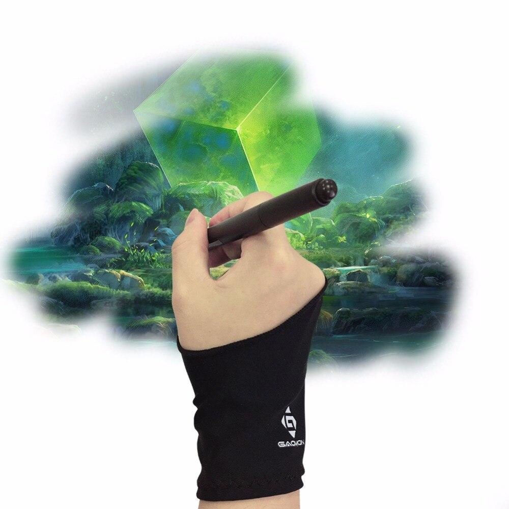 GAOMON guante de Lycra negro antideslizante de dos dedos para artistas para tableta gráfica/caja de luz LED/Pantalla de bolígrafo -- tamaño libre