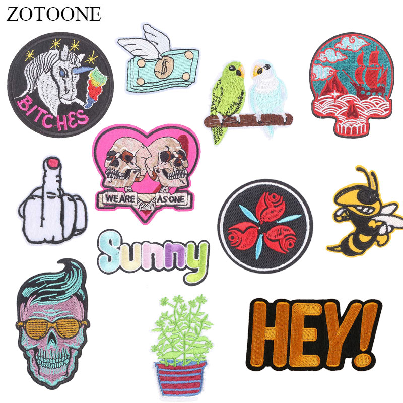 ZOTOONE Skull Unicorn Patches Letter Diy Stickers Iron on Clothes Heat Transfer Applique Embroidered Applications Cloth Fabric G