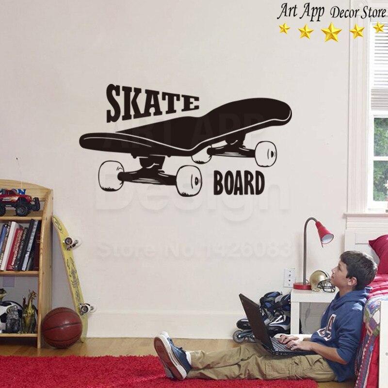Boa qualidade novo design skate adesivos de parede removível art decoração de casa barato decalques de vinil X-sala de jogos de esportes