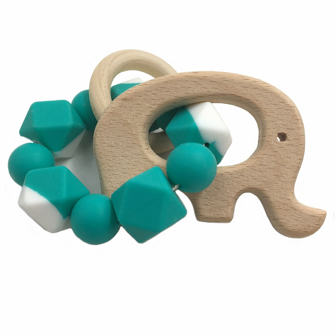 Beech Animal Care Bracelet Teeth Wooden Food Grade Silicone Beads Rattle Toy Personality Bracelet