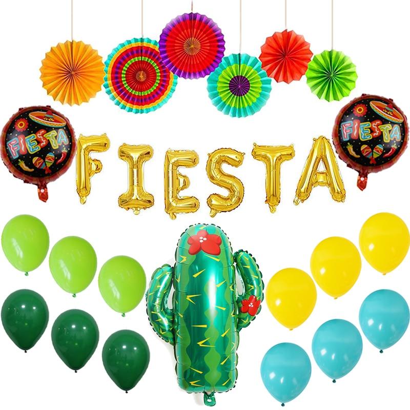 Decoraciones para Fiesta Mexicana, suministros de Fiestas, abanicos de papel coloridos, globos dorados para Fiesta, pancarta de Cactus, globos de aluminio