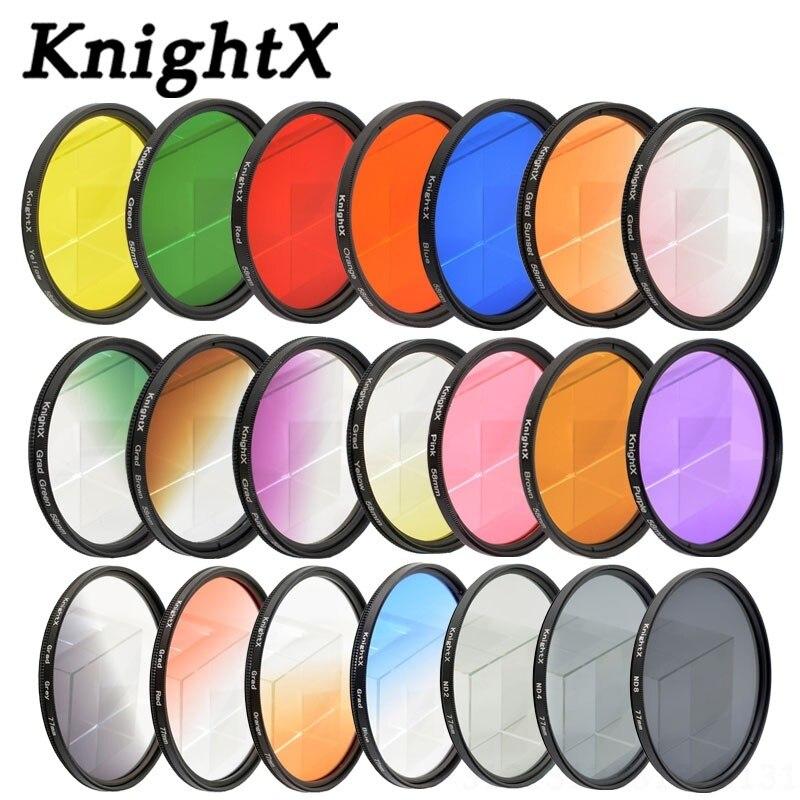 Фильтр KnightX 24 цвета для nikon canon 18-55 d80 anamorphique, объектив eos 600d для фотографии, пара 52 мм 58 мм 67 мм uv CPL nd