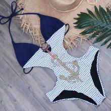 Imprimer une pièce maillot de bain Push Up 2019 grande taille maillots de bain femmes bijoux creux maillot de bain Dot Monokini Sexy string maillots de bain XXL