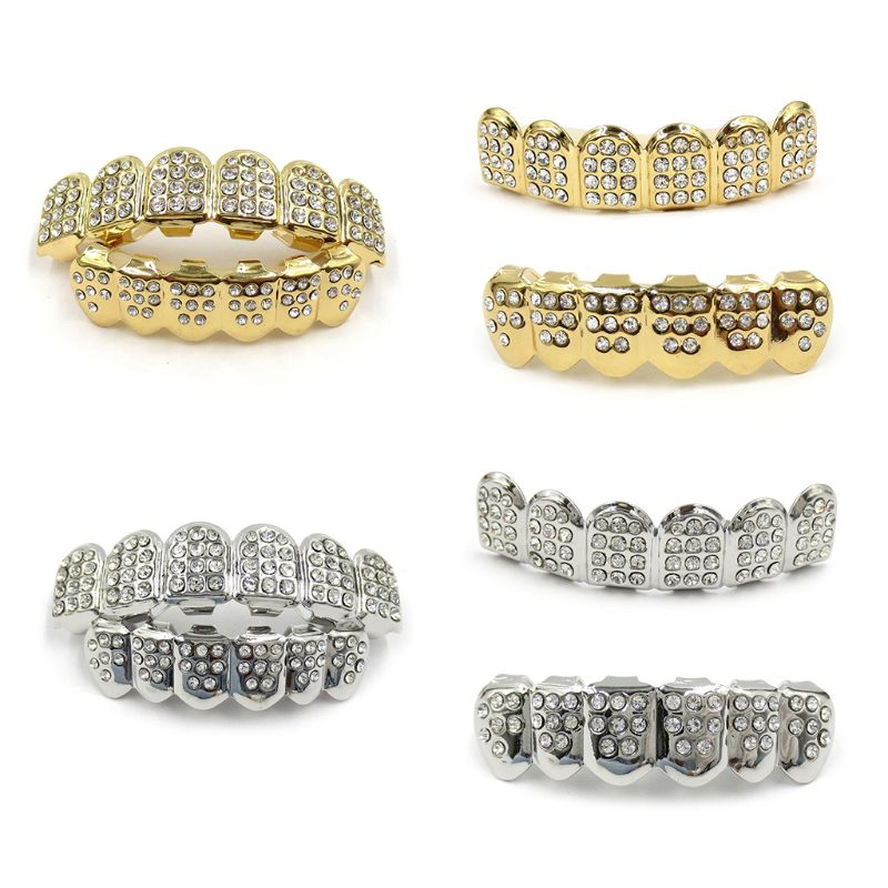 New Fshion Hip Hop Gold Silver Colour Iced Out CZ Teeth Grillz Top Bottom Men Women Jewelry
