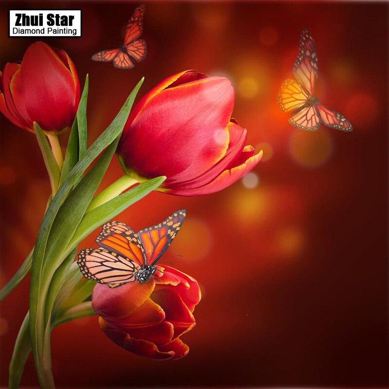 Diy 5d pintura diamante tulipa quadrado completo diamante bordado ponto cruz strass mosaico pintura de diamante decoração casa presente