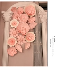 Wedding Cardboard Paper Baby Pink Flower Wall Flower Backdrop Wedding decoration 14pcs/lot