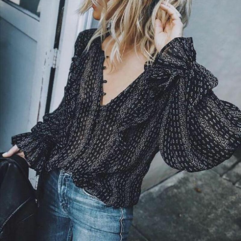2019 blusa Retro mujer negro Boho Oficina Casual globo tops de manga larga con cuello en V Sexy Camisas Blusas sueltas de talla grande S-3XL