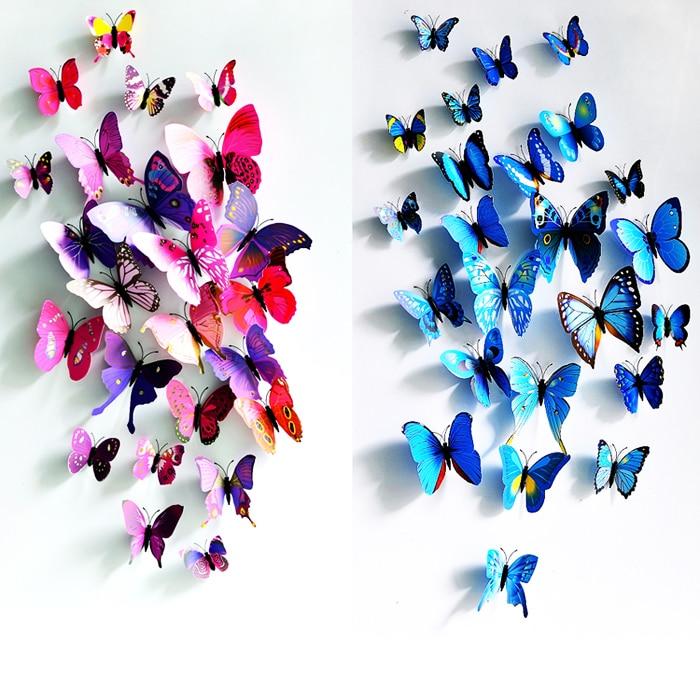 12pcs Creative Pattern PVC 3d Butterfly Wall Decor Cute Butterflies Wall Stickers Art Decals Home Decoration
