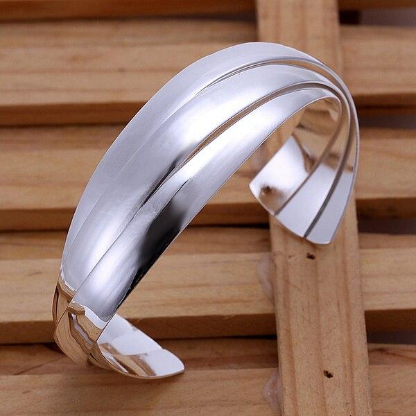 Color plata exquisito lujo hermosa pulsera de moda noble brazalete abierto dije plata joyería Regalo de Cumpleaños preferido B044