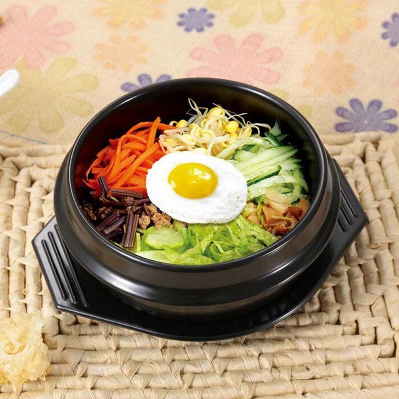 10 satz/los Klassische Koreanische Küche Sets Dolsot Stein Schüssel Topf für Bibimbap Keramik Suppe Ramen Schalen Mit Tablett Großhandel ZA4221