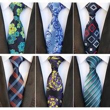 RBOCOTT Mens Silk Tie 8cm Fashion Floral Ties Plaid Necktie Striped Ties Blue Yellow Green For Men Business Wedding Accessories