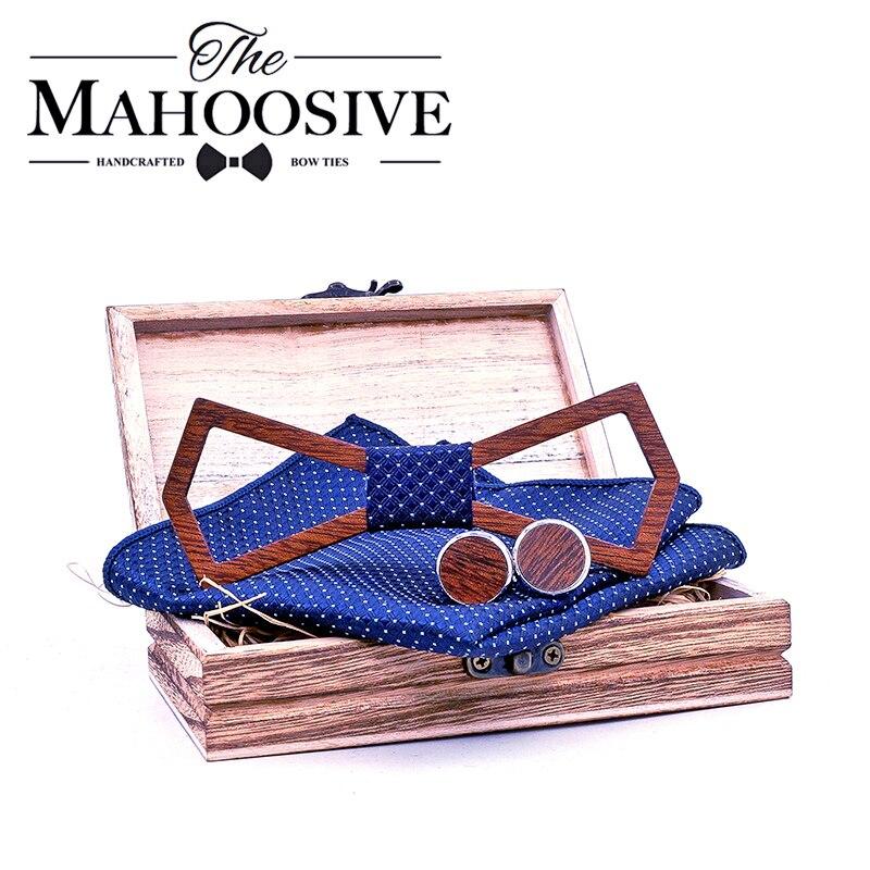 Männer Holz Fliege Set BowTie Taschentücher Manschettenknöpfe Krawatte Für Hochzeit Party Hombre neue jahr Geschenk gravata männer krawatte dünne corbat