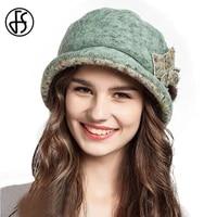 fs women wool hats winter wide brim fashion flower bucket hat warm foldable fisherman cap green pink yellow bob chapeau femme