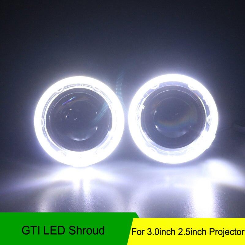 "Frete Grátis 2 pçs/lote Autoki 3.0 ""alta qualidade GTI led angel eye DRL Capa Máscara Sem bi-xenon lente do projetor Mortalha"