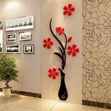 Heißer 3D wand aufkleber Vase Plum Blume Moderne wohnkultur Diy Kristall acryl wand aufkleber Schlafzimmer TV Eingang Dekorative Bilder