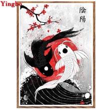 Yin Yang broderie de diamant rond 5d   Carré/rond, peinture diamant mosaïque, point de croix, cadeau du nouvel an